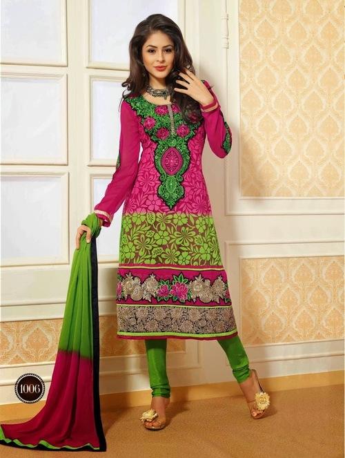 Captivating Pink & Green Salwar Suit