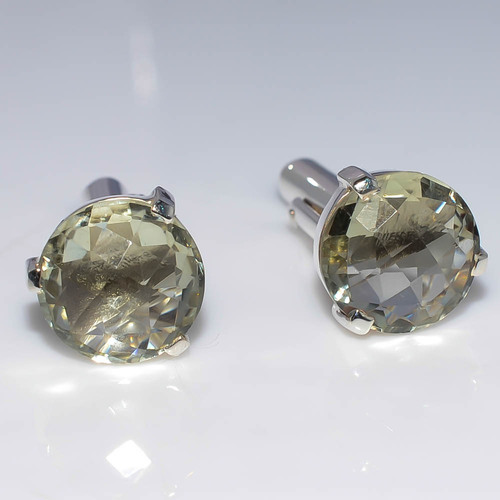 925 Sterling Silver Green Amethyst Gemstone Men's Cufflink's