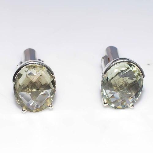925 Sterling Silver Green Amethyst Gemstone Cufflink's
