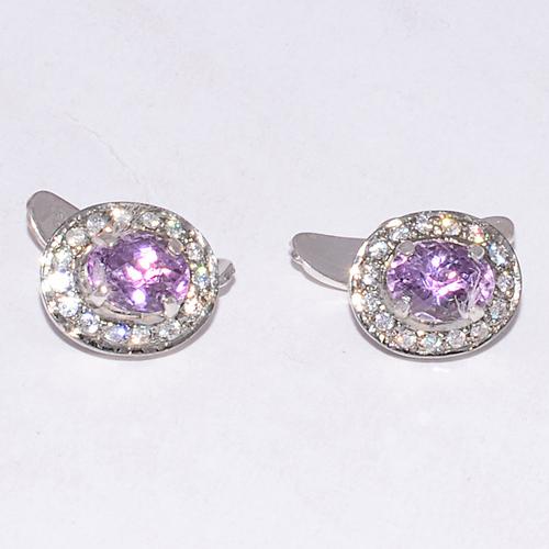 925 Sterling silver Amethyst & CZ Gemstone Cufflinks