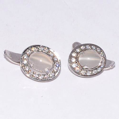 925 Sterling silver Cat's Eye & CZ Gemstone Cufflinks