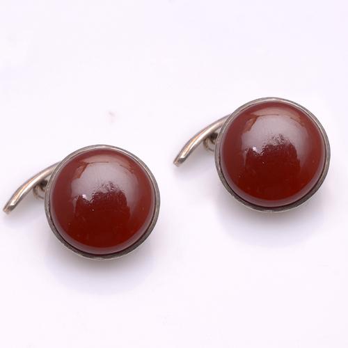 925 Sterling Silver Red onyx Gemstone Cufflinks