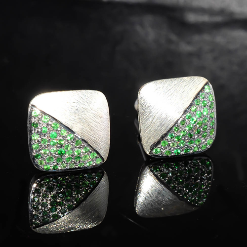925 sterling silver Tsavorite Gemstone Cufflinks