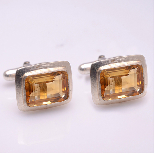 925 Sterling silver Golden Topaz Gemstone Cufflinks