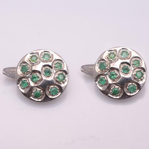 925 Sterling Silver Emerald gemstone Men's Cufflinks