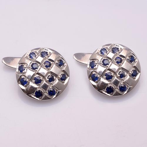 925 Sterling silver Blue Sapphire Gemstone Cufflinks