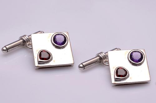 925 Sterling silver Garnet & Amethyst Gemstone Cufflinks