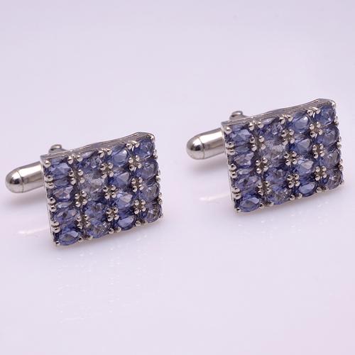 Tanzanite Gemstone Cufflinks In 925 Sterling Silver