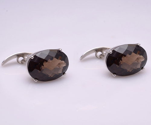 925 Sterling Silver Smoky Topaz Gemstone Men's Cufflink's