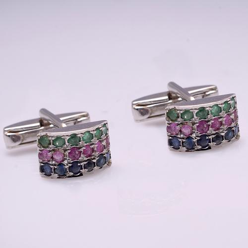 Emerald,Ruby Sapphire Gemstone Cufflinks In 925 sterling Silver