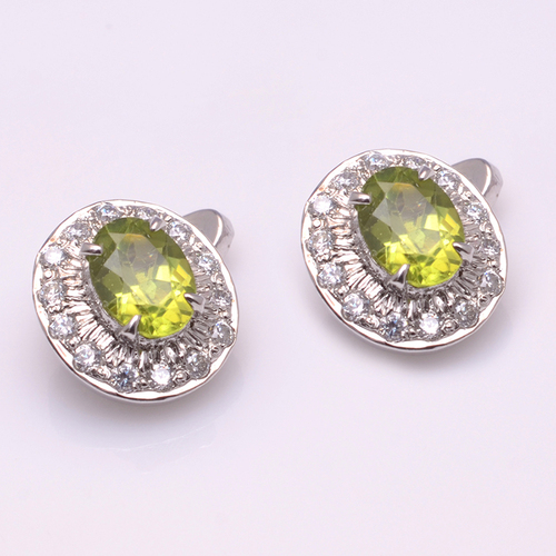 925 Sterling Silver Peridot & CZ Gemstone Cufflinks