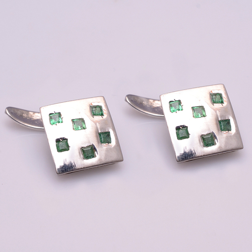925 Sterling silver Emerald gemstone Cufflinks