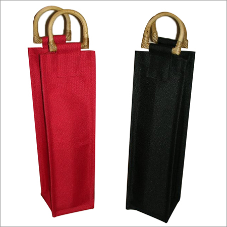 Single Bottle Jute Bag With Cane Handle