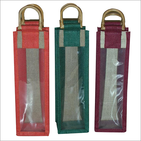 Jute Clear Front wine bag with cane handle