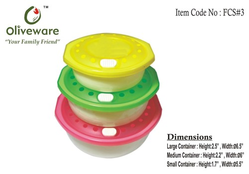 Set of 3 Food Storage Containers
