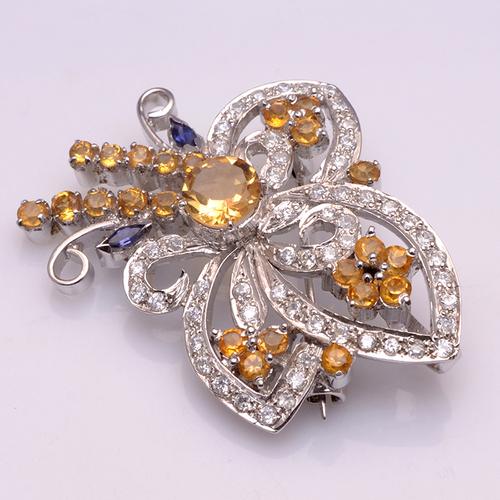 925 Sterling Silver Golden Topaz & Zircon Gemstone Broach