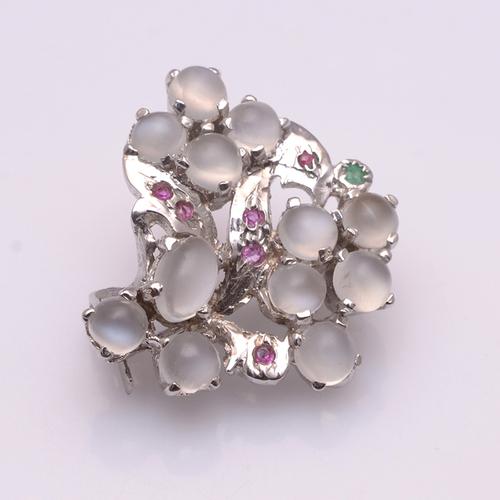 925 Sterling Silver Moon Stone,Ruby,Emerald Gemstone Broach
