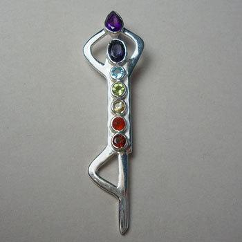 Yoga Lotus Chakras Reiki healing Silver  Pendant
