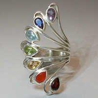 925 Sterling Silver Chakra Gemstone Ring