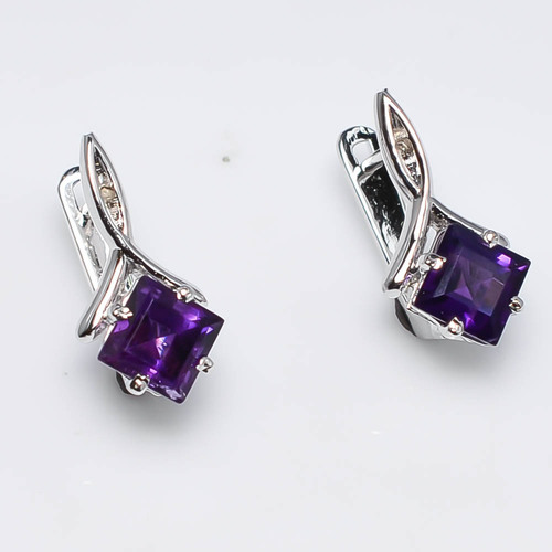 925 Sterling Silver Amethyst Gemstone Earring