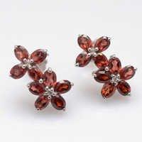 925 Sterling Silver Garnet Gemstone Earring