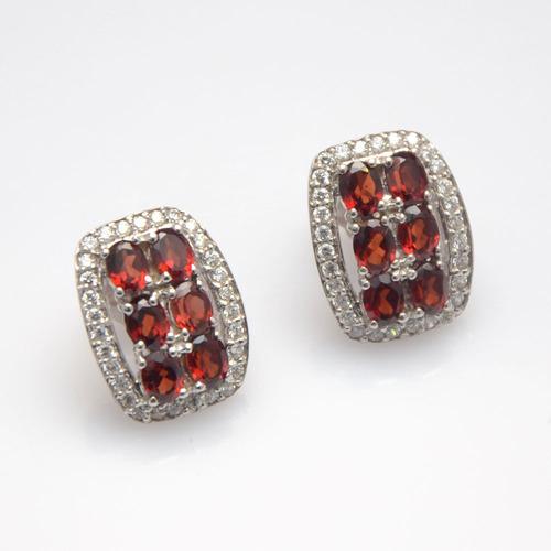 925 Sterling Silver Garnet & Zircon Gemstone Earring