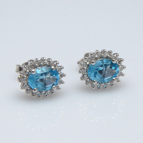 925 Sterling Silver Blue Topaz & Zircon Gemstone Earring