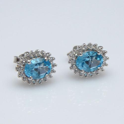 925 Sterling Silver Blue Topaz & Zircon Gemstone Earring