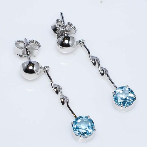 925 Sterling Silver Blue Topaz Gemstone Earring