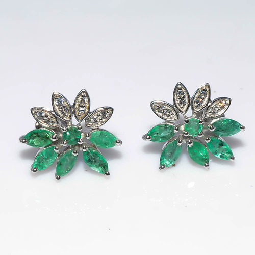 925 Sterling Silver Emerald & Zircon