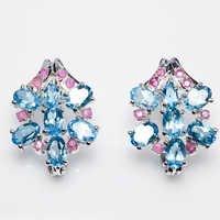 925 Sterling Silver Blue Topaz & Ruby Gemstone