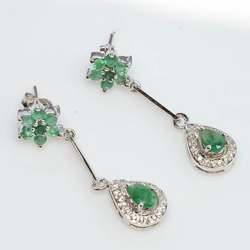 925 Sterling Silver Emerald & Zircon Gemstone Earring