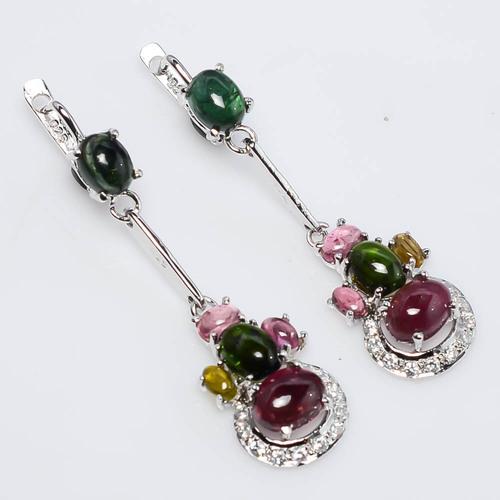 925 Sterling Silver Tourmaline & Zircon Gemstone Earring