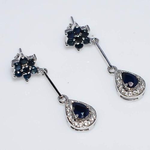 925 Sterling Silver Blue Sapphire & Zircon Gemstone Earring