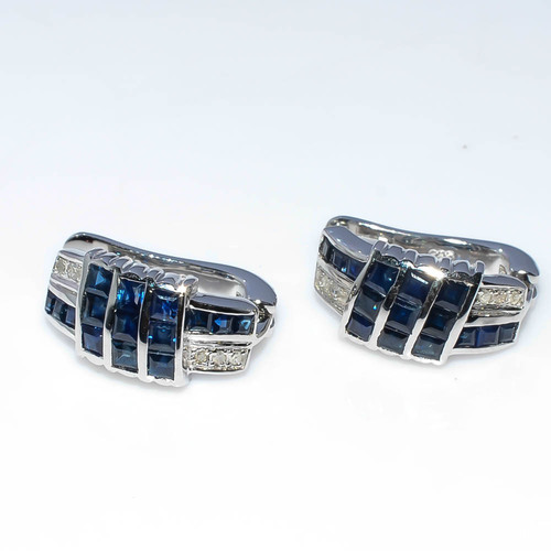 925 Sterling Silver Blue Sapphire & Diamond Gemstone Earring