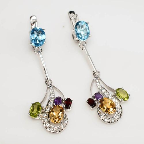 925 Sterling Silver Multi Semi-Precious & Zircon Gemstone Earring