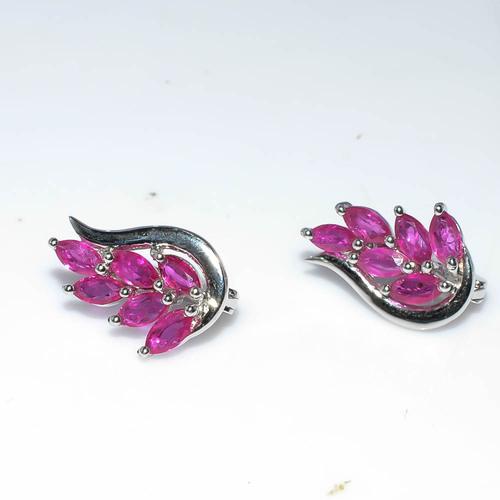 925 Sterling Silver Ruby Gemstone Earring