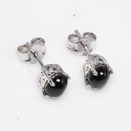 925 Sterling Silver Black Star Gemstone Earring