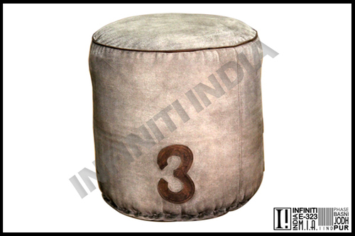 Vintage Canvas Pouf
