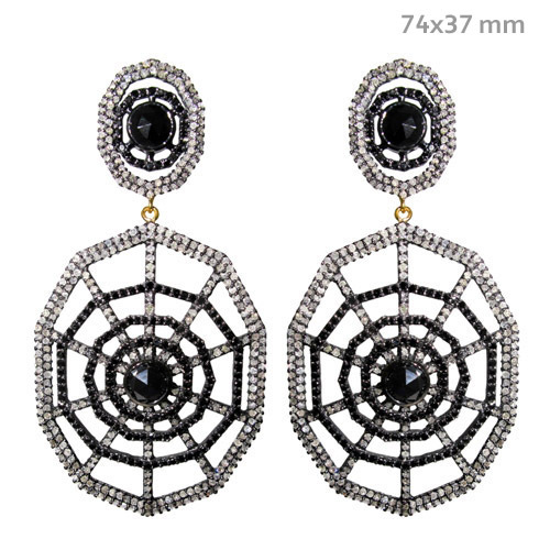 Black Spinel Pave Diamond Gold Earrings