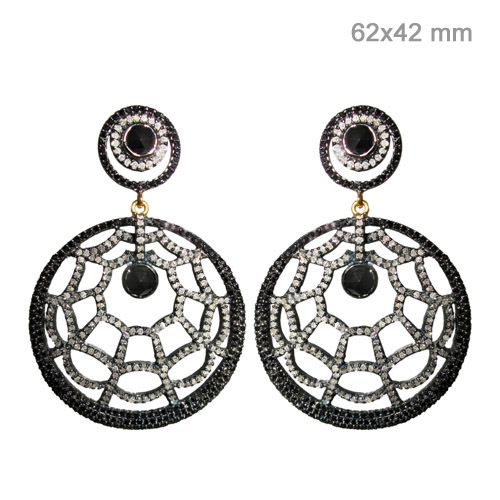 Pave Diamond Black Spinel Gold Earrings
