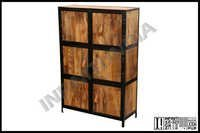 Industrial Armoire With Mango Wood