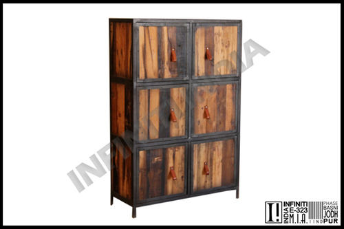 Industrial Armoire With Pine Wood