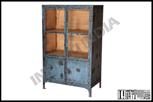 Antique Blue Small Industrial Almirah