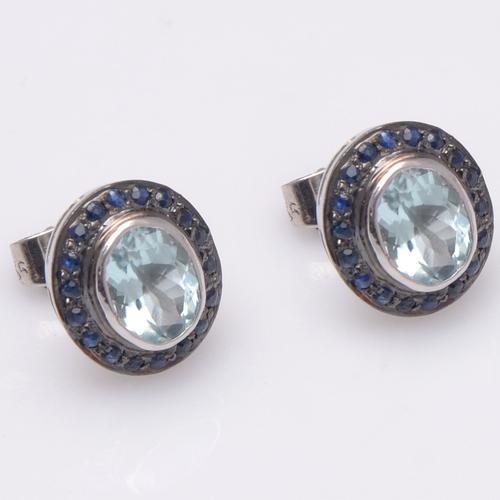 925 Sterling Silver Blue Topaz & Blue Sapphire Gemstone Stud Earring