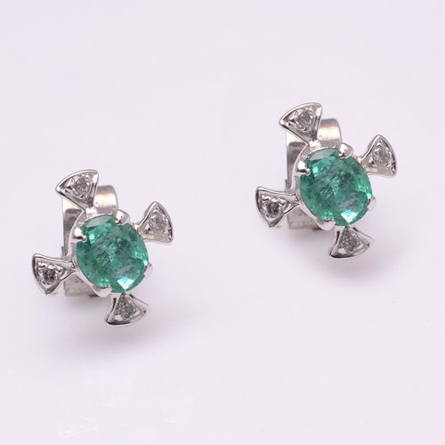 925 Sterling Silver Emerald & Diamond Gemstone Earring