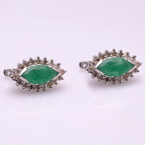 925 Sterling Silver Emerald & Diamond Gemstone Earring