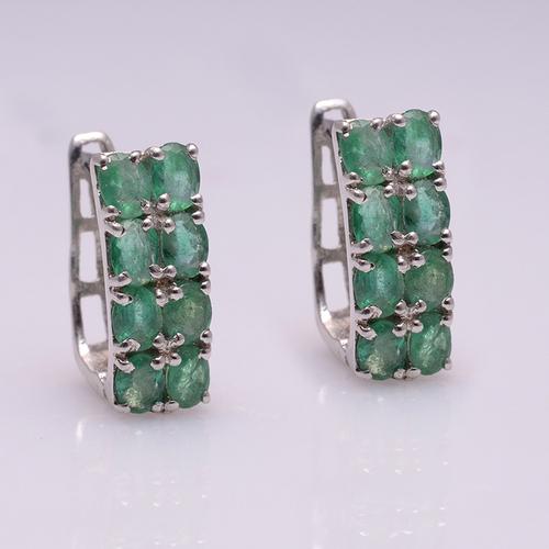 925 Sterling Silver Emerald Gemstone Earring