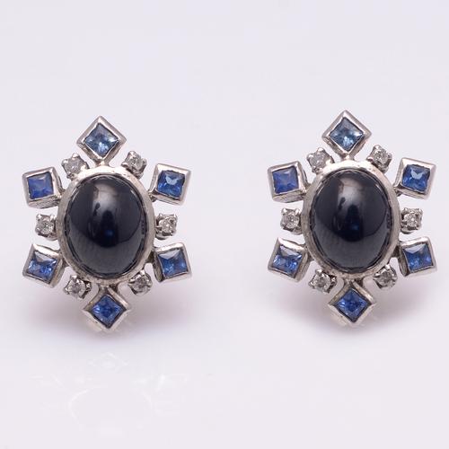 925 Sterling Silver Blue Sapphire & Diamond Gemstone Earring