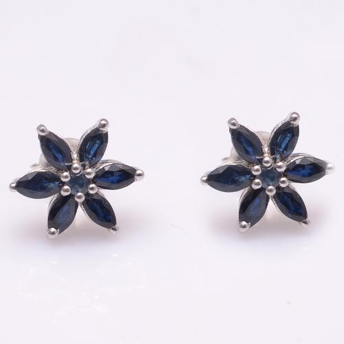 925 Sterling Silver Blue Sapphire Gemstone Earring